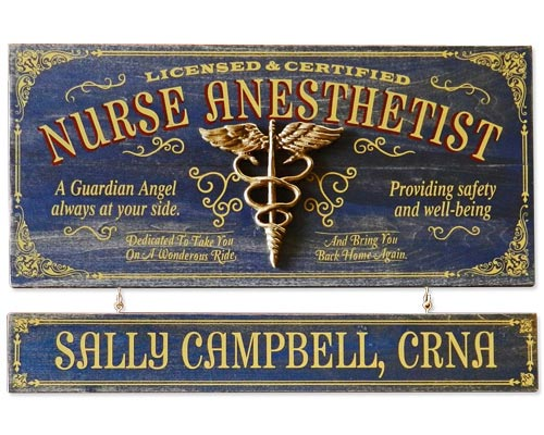 CRNA Gift Ideas - Custom Vintage Sign