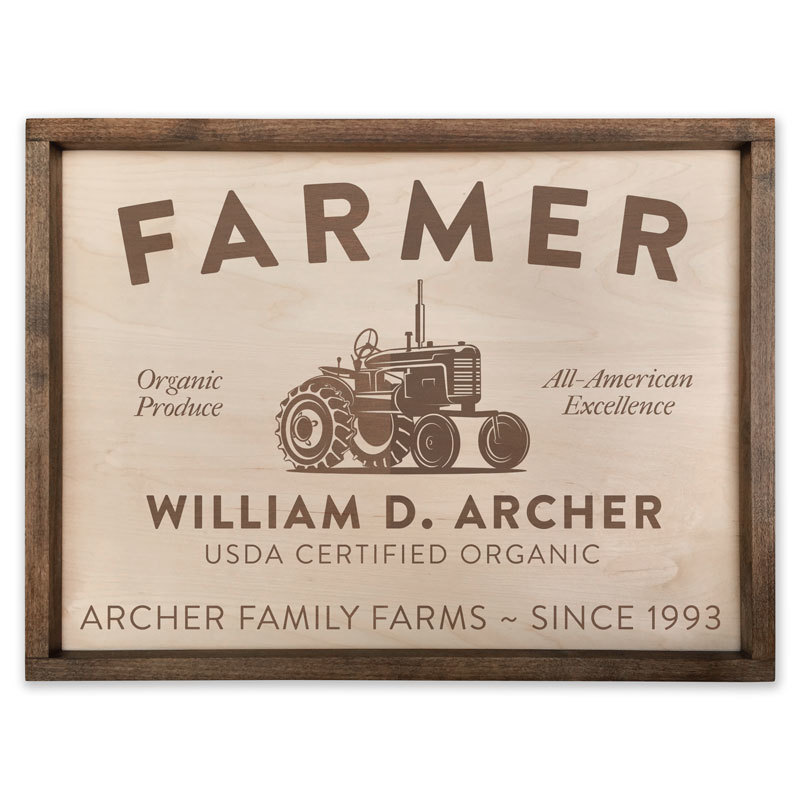 Custom Engraved Wood Farmer Sign
