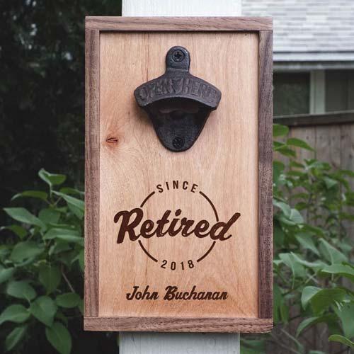 Custom Engraved Bottle Opener Coworker Retirement Gift