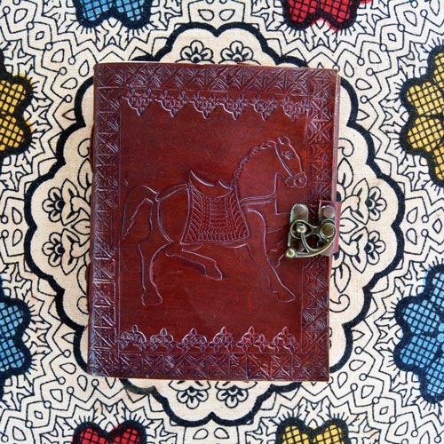 Handmade leather horse journal