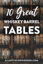 Tables made from a whiskey barrel