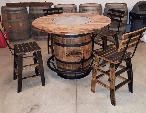 Whiskey Barrel Table with Stave Stools and Footrest