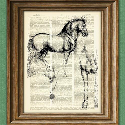 Vintage dictionary Da Vinci horse print