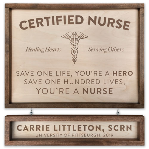 Personalized Wood Nurse Sign - Custom Engraved Nursing Graduation Gifts