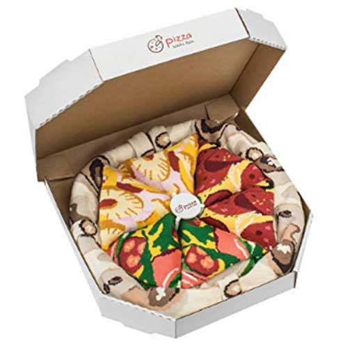 Pizza box filled with socks