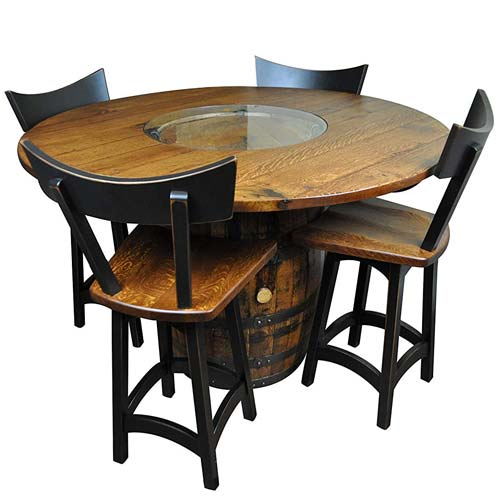 Amish Made Wood Whiskey Barrel Table Set