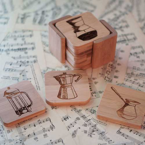 Set of 6 Coffee Art Coasters