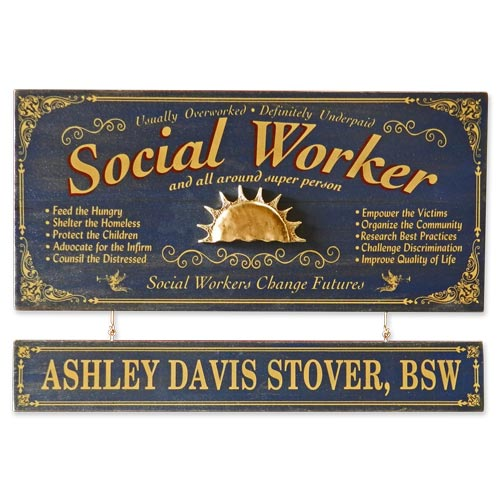 Personalized Vintage Social Worker Sign