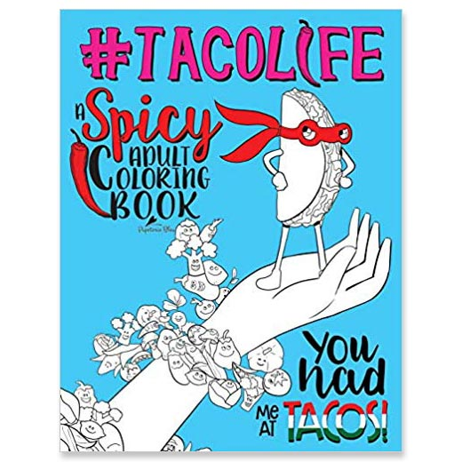 Adult coloring book for National Taco Day