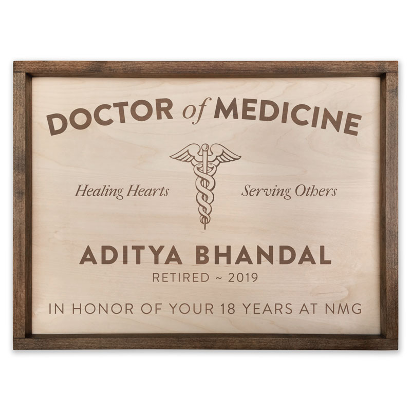 Medical Doctor Retirement Plaque
