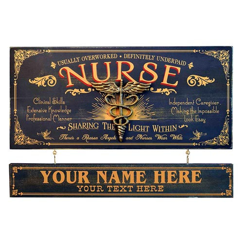 Vintage Personalized Nurse Plaque