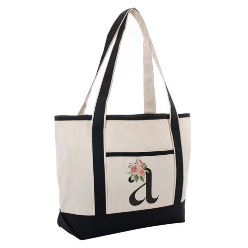 Custom Initial Tote Bag with Floral Accents