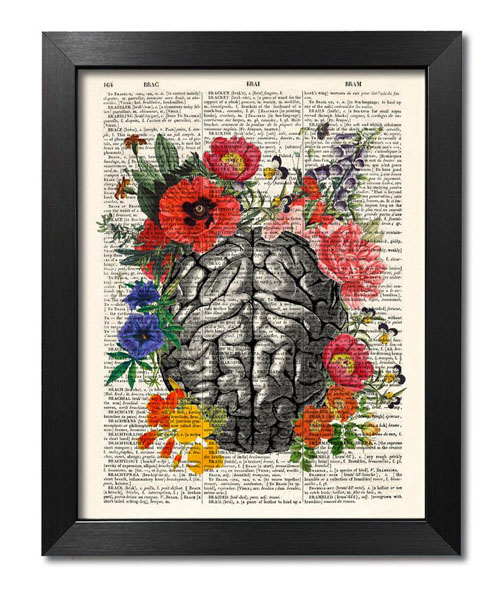 Floral Brain Print - Gifts for Neurologists