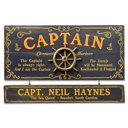 Personalized Vintage Captain Sign