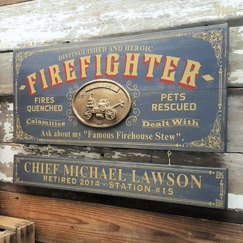 Firefighter Personalized Vintage Sign