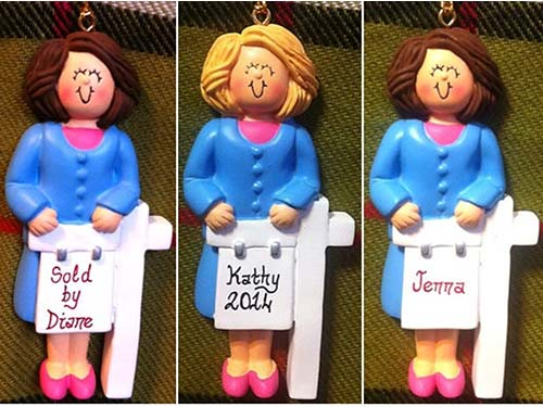 Personalized Real Estate Agent Figurine Ornament
