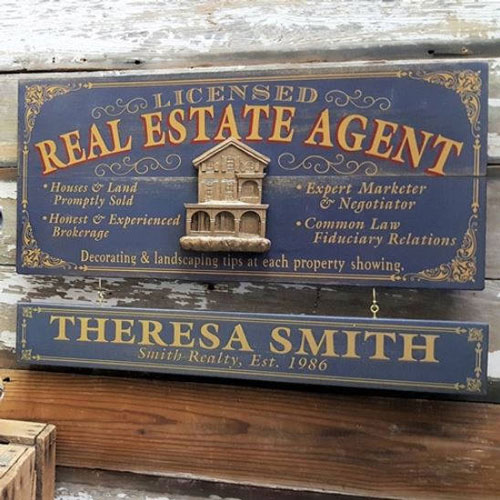 Vintage Personalized Real Estate Agent Sign