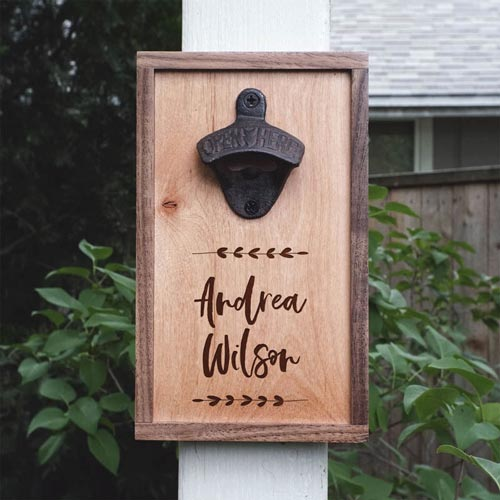 Personalized Wooden Wall Mounted Bottle Opener