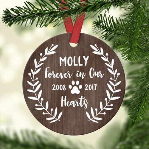 Personalized wooden pet ornament