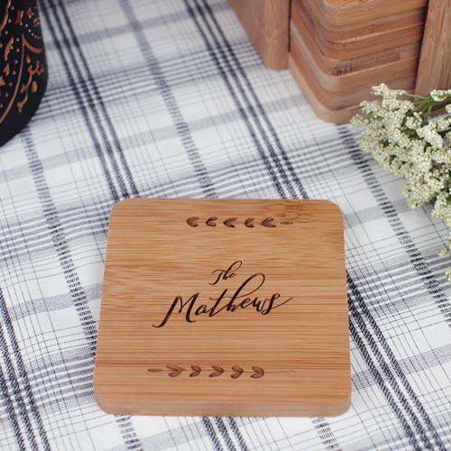 Custom Etched Bamboo Coaster Set for Hostess Gifts