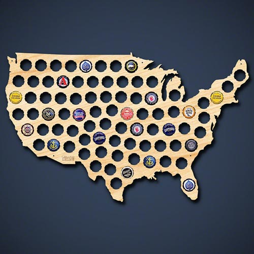 Map of the USA Beer Cap Collection