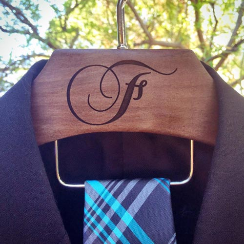 Custom Engraved Wood Suit Hanger
