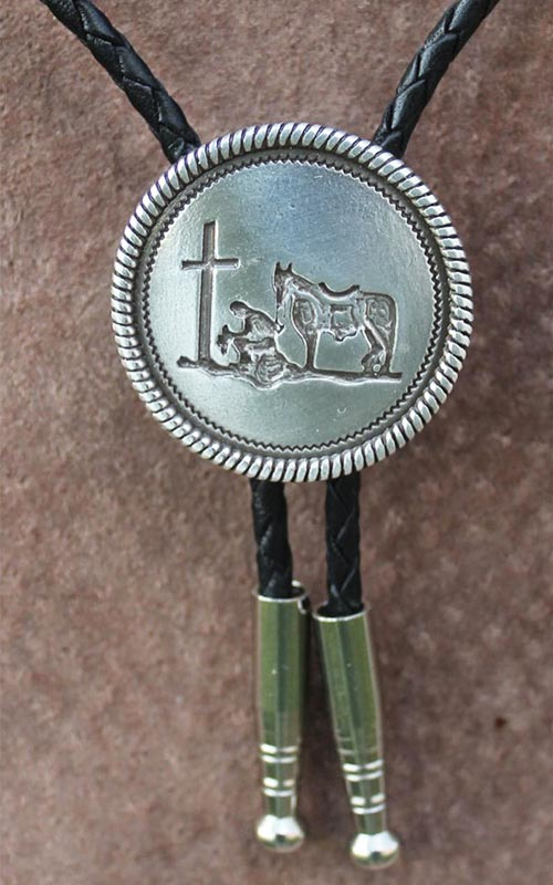 Bolo Tie for Cowboy Hat with Cross & Prayer