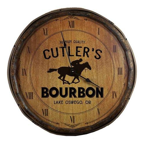 Custom Bourbon Barrel Head Clock Decor Sign