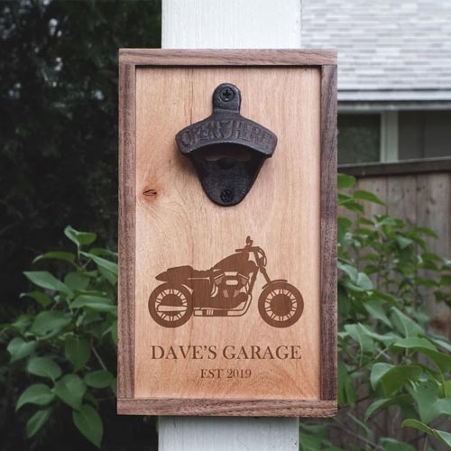 Personalized Motorcycle Bottle Opener Valentine's Day Gift for Him