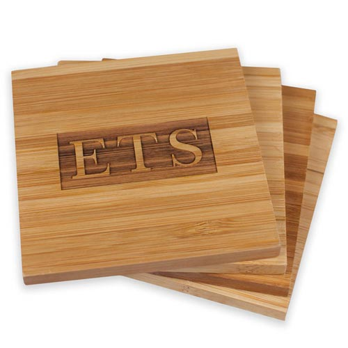 Bamboo Wood Monogram Coaster Set