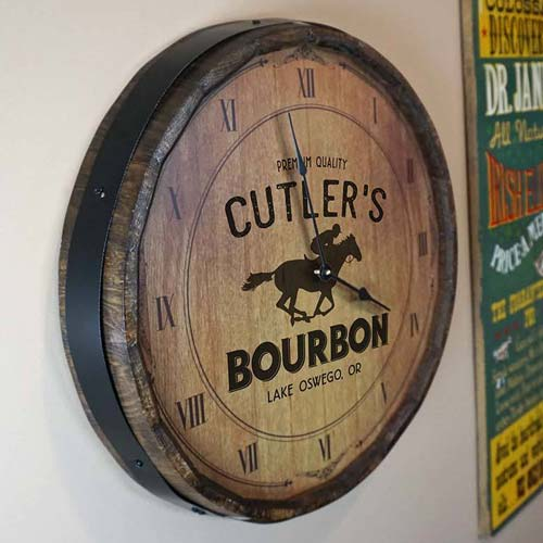 Personalized clock made from the top slice of a bourbon barrel