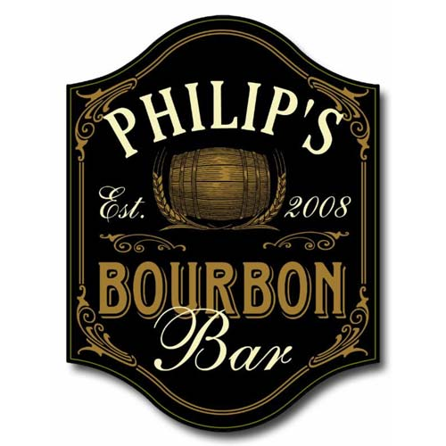 Bourbon Bar Plaque Personalized