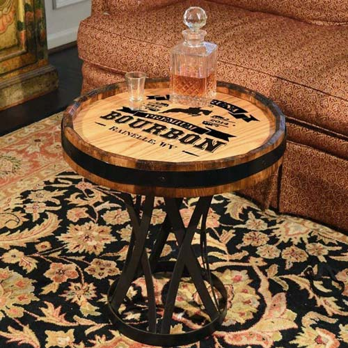 Bourbon Coffee Table Made from Oak Barrel Head