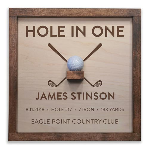 Wooden Hole in One Ball Commemorative Plaque