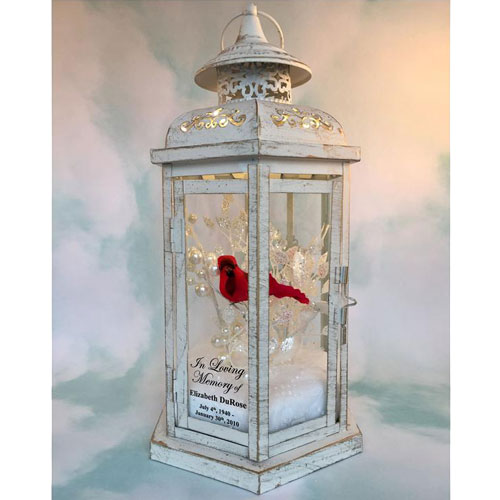 Personalized Memorial Lantern with Cardinal Decor