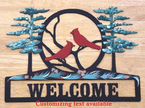 Personalized Welcome Sign with Cardinals