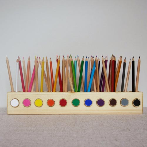 Wooden Pencil Holder Gift for Artists Who Draw