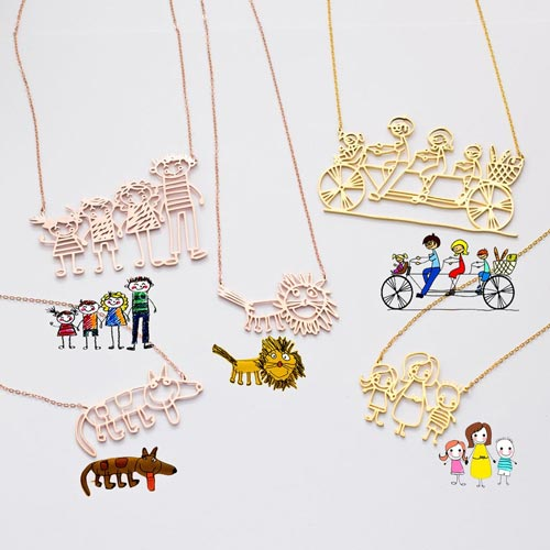 Personalized Art Drawing Necklace