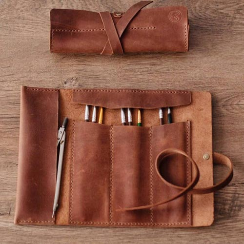 Leather Pencil Roll for Artists Who Draw