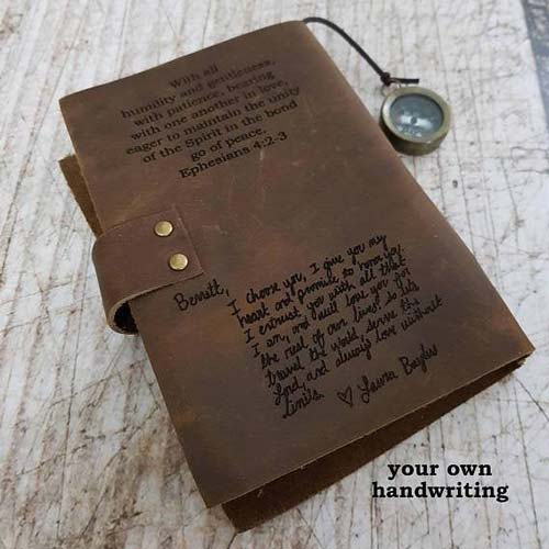 Custom Etched Journal Cover in Your Handwriting