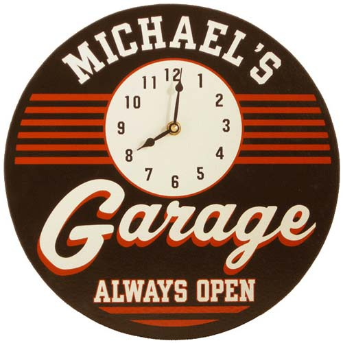 Personalized Garage Clock Sign (Circle)