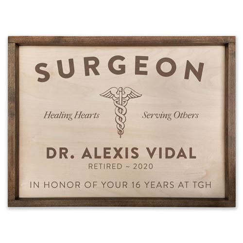 Wood Office Sign for Surgeons