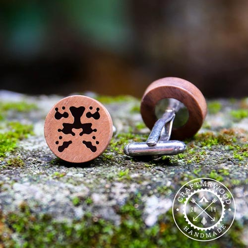 Rorschach Text Wood Cufflinks