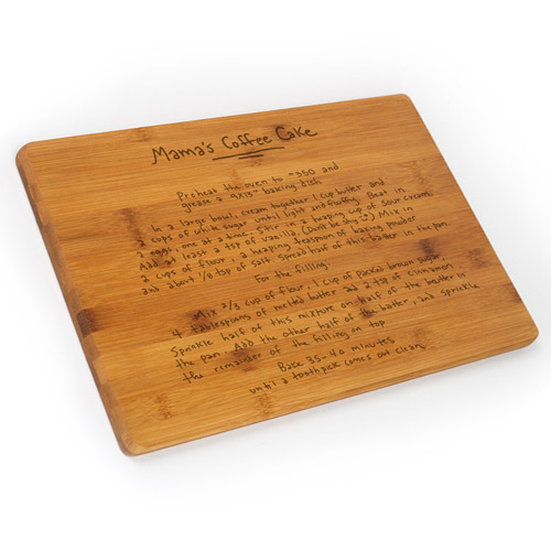 Personalized Bamboo Cutting Board with Engraved Recipe