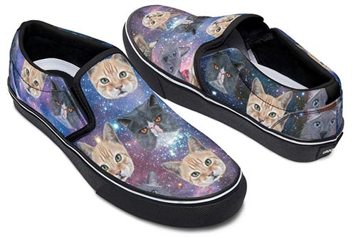 Cosmic cat slip-on shoes