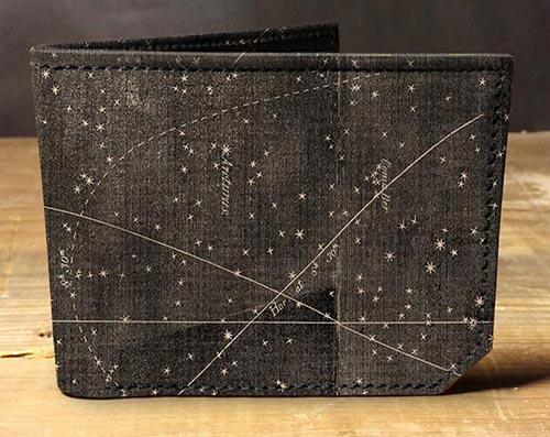 Leather star map wallet men's gift idea