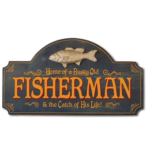 Wooden Fisherman Retirement Plaque
