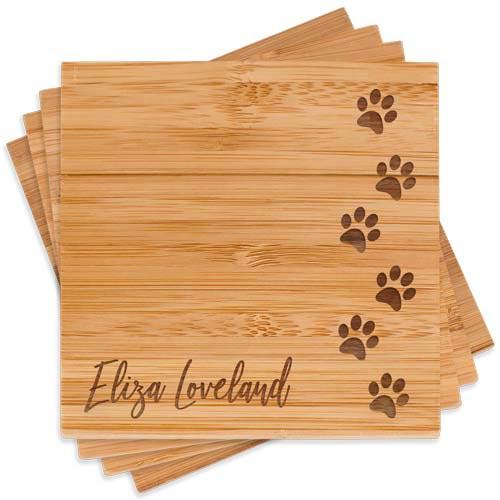 Personalized coaster set dog walkers gift idea