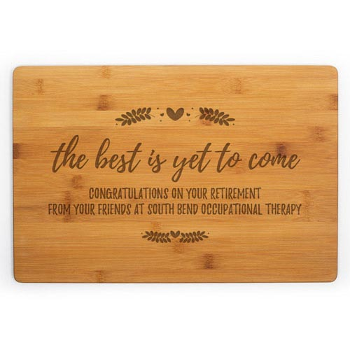 Occupational therapist gift ideas: Personal retirement cutting board