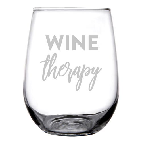 Personalized wine glass - Wine Therapy